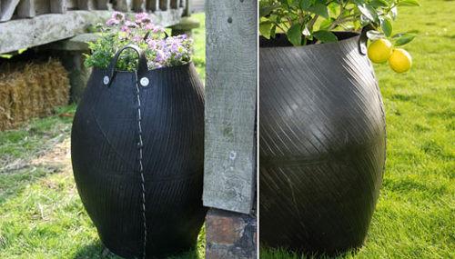 Емкость для растений, сделанная из старых шин